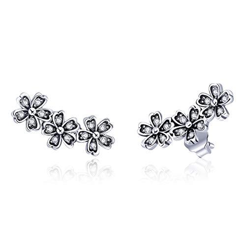 - BISAER Girls Flower Climber Earrings Hypoallergenic, 925 Sterling Silver CZ Crawler Earrings,Unique Ear Cuff Earrings for Women