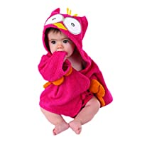 Baby Aspen My Little Night Owl Hooded Terry Spa Robe, Pink