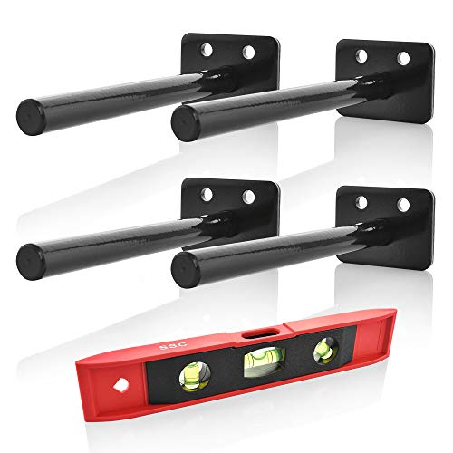 Floating Shelves Support Brackets - Home Décor, Storage, Organization - 4 x Heavy-Duty Powder Coated Stainless Steel Blind Shelf Bracket Supports - 8 x Screws, 8 x Plastic Anchors, Bonus ()
