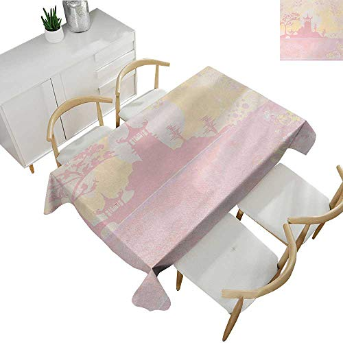 Pink,Party Table Cloth Old Ancient China Landscape Temple with Florals Swirls Flower Details Image Print Waterproof Table Cover for Kitchen Light Pink 60