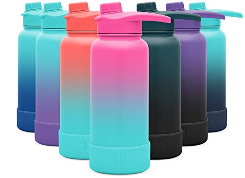 Simple Modern 32 Ounce Summit Water Bottle with Chug Lid & Protective Boot - Hydro Vacuum Insulated Flask 18/8 Stainless Ombre: Sorbet