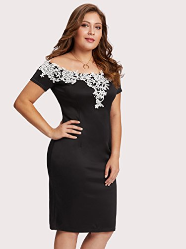 Floerns Women's Plus Size Off Shoulder Lace Applique Trim Dress Black 3XL