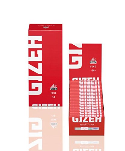50 Booklets GIZEH FINE Rolling Paper Red Box 2500 Papers -