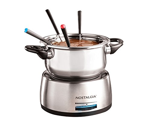 Nostalgia Chocolate Fondue Fountain (Nostalgia FPS200 6-Cup Stainless Steel Electric Fondue Pot)