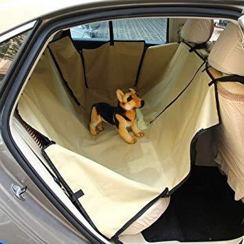 Uniqus Nonslip Folding Car Rear Back Seat Cover Pet Cat Dog Cushion Mat, Size  195 x 135 x 0.2 cm(Khaki)
