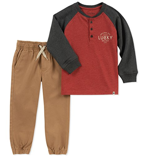 Lucky Sets Toddler Boys' 2 Pieces Pant Set, Charcoal/Red/Khaki, 3T by Lucky Sets (Image #1)