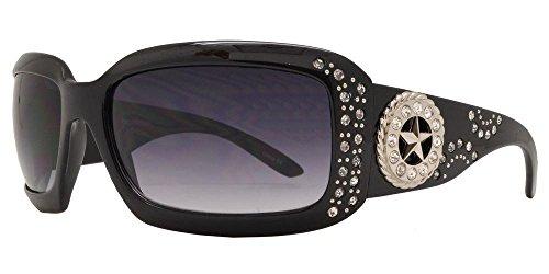 BB Jp Western Cowgirl Bling Rhinestone Ladies Womens Shades Sunglasses (Black Silver Lone Star)