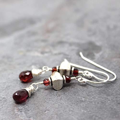 - Dangle Garnet Earrings Sterling Silver Red Gemstones with Bali Beads, 1.5 Inch