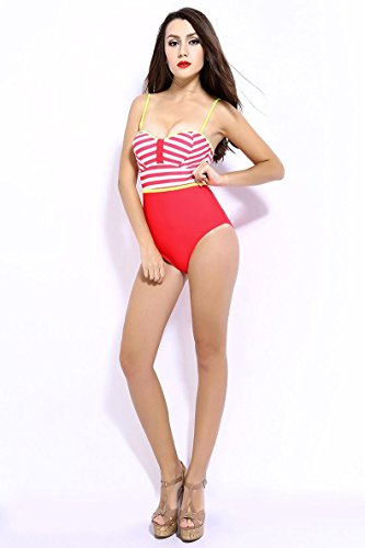 SZH YIBI Bikini femenino aguas termales de a nadar traje de baño pieza de gran tamaño de traje de baño negro Red