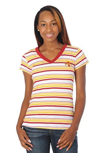 UG Apparel NCAA Iowa State Cyclones Women's Striped Tailgate T-Shirt, Large, Cardinal/Gold