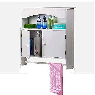 World Pride White Wooden Bathroom Wall Cabinet Toilet Medicine Storage Organiser Cupboard 2 Door with Bar Shelf Unit