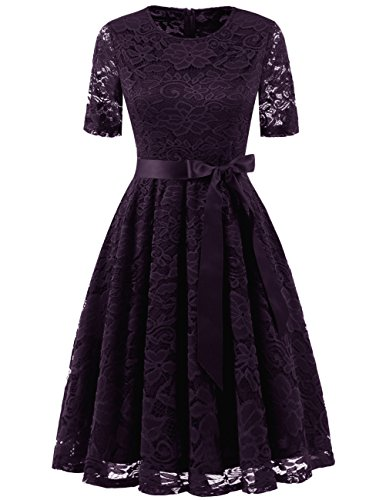 DRESSTELLS Short Bridesmaid Scoop Floral Lace Dress Cocktail Formal Party Dress Grape XL