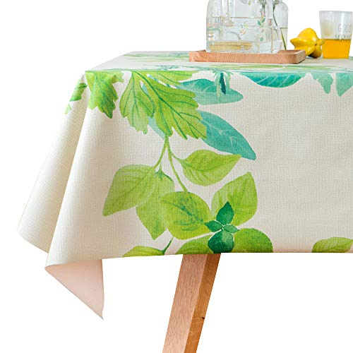 (LOHASCASA Square Vinyl Oilcloth Tablecloth Spillproof Wipeable PVC Waterproof Plastic Party Oil Tablecloths for Small Kitchen Dining Coffee Table - Green Leaves 54 x 54 inch)