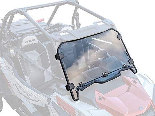 (SuperATV Heavy Duty Standard Polycarbonate Vented Full Windshield for Polaris RZR XP Turbo 2019+ - Easy to)