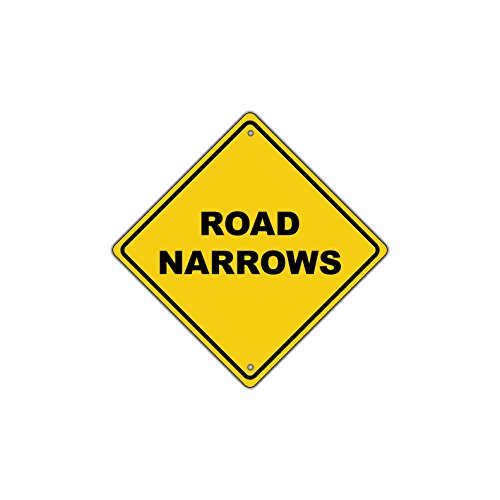 Crossing Highway Sign (Road Narrows Xing Aluminum Novelty Caution Traffic Sign 12x12)