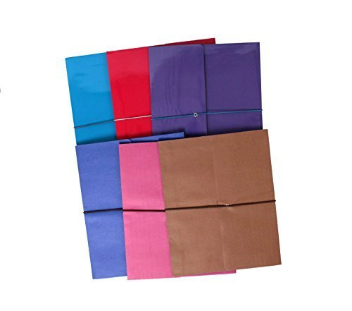 Tops Colored Expanding File Folders with Elastic Band Closures, Set of 6