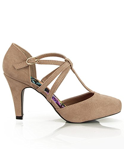 SullyS Kaylee-H Mary-Jane Pumps-Shoes Taupe Su-3 Inch High, Runs 1/2 Size Small