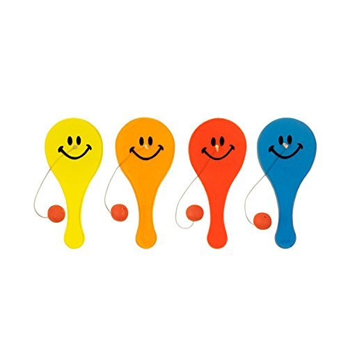 Smiley Face Paddle Ball Game - Yellow (Case Pack of 144) ()