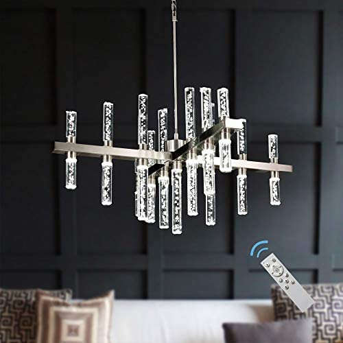 MEEROSEE MD86798MD Modern Dimmable Led Pendant Lights Fixture with Acrylic Shade Satin Nickel Island Ceiling Dining Living Room Chandelier