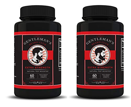 Gentlemans Beard Club All Natural Test Booster Increase Testosterone Beard Growth Supplement Vitamin Grow a Fuller Thicker Beard 60 Tablets 2 Bottles