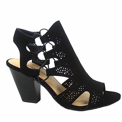 CityClassified Zuka-s Women's Fashion Summer Sexy Open Toe Chunky Heel Sandals Shoes (8.5 B(M) US, Black) -
