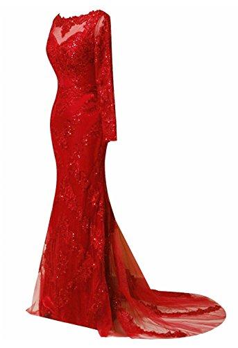 Robes De Soirée Longues Manches Dkbridal Sirène Robes De Bal Du Cou Pure Long Fuchsia Appliqué