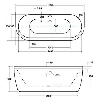 Freistehende Badewanne VISTA 160x75 cm Vorwand-Badewanne Freistehend Badewanne Acryl