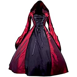 Partiss Women's Gothic Victorian Poplin Long Sleeve Hooded Halloween Lolita Witch Dress S Red