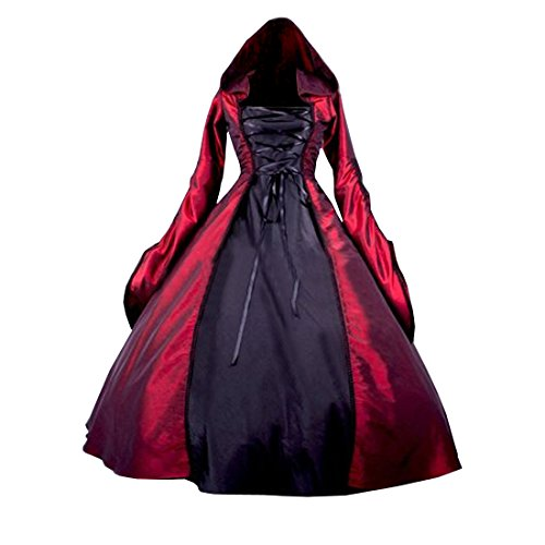 Partiss Women's Gothic Victorian Poplin Long Sleeve Hooded Halloween Lolita Witch Dress XXL Red]()