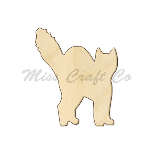 Halloween Cat Wood Shape Cutout, Wood Craft Shape, Unfinished Wood, DIY Project. All Sizes Available, Small to Big. Made in the USA. 12 X 10 -