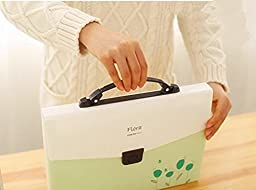 JunShop 13 Pockets Accordion Expanding File Folder,A4 Expanding File Folder with Buckle Closure And with Handle (Green)