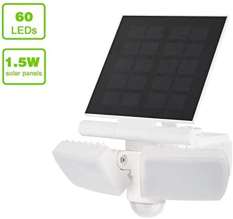 Solar Lights Outdoor 60pcs Super Bright LED Solar Motion Sensor Dual Head Spotlights IP54 Waterproof with Wide Angle Adjustable Twin Head LED Wall lamp Oversized Solar Panel Quick Charge 8W,500LM