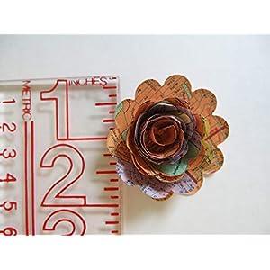 "Scalloped World Atlas Roses, 1.5"" Paper Flowers on Stems, One Dozen, Travel Theme Birthday Party Decor, Wedding Decor, Bridal Shower Centerpiece, Map Flowers 5"