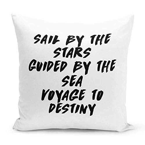 Looms & Linens Destiny and Travel Quote White Throw Pillow Caribbean and Pirates 16x16 inch Premium Quality Decorative Throw Pillow with Stuffing