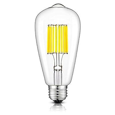 CRLight 10W LED Edison Bulb 100W Equivalent E26 Medium Base, ST64 Vintage LED Filament Bulbs, 2700K / 5000K, Non-dimmable