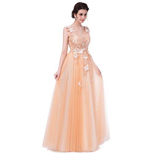 Avec Prom De Champange Banquet Sleeveless Soirée Sun 4 Mariée Goddess Long De Appliques 10 Cordon Dentelle Robe Neck Luxe V Parti Robes qqU68wE