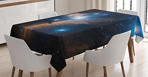 Ambesonne Space Decorations Tablecloth, Nebula Gas Clouds in the Outer Space Moving Image Dynamic Celestial Mystery Dust Cosmos, Rectangular Table Cover for Dining Room Kitchen, 52x70 Inches, Navy (Celestial Table)