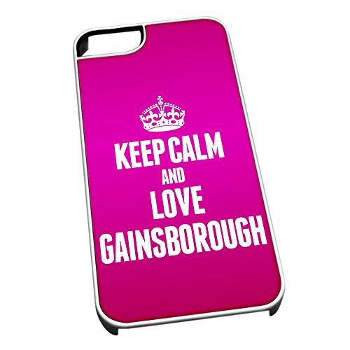 Bianco Cover per iPhone 5/5S 0272Rosa Keep Calm And Love Gainsborough–