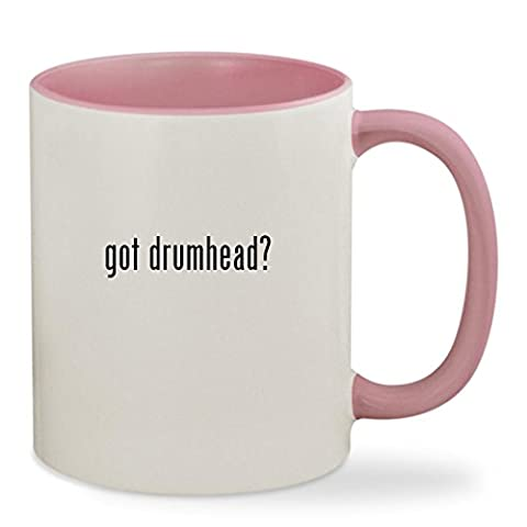 got drumhead? - 11oz Colored Inside & Handle Sturdy Ceramic Coffee Cup Mug, Pink (Evans G2 14 Snare)