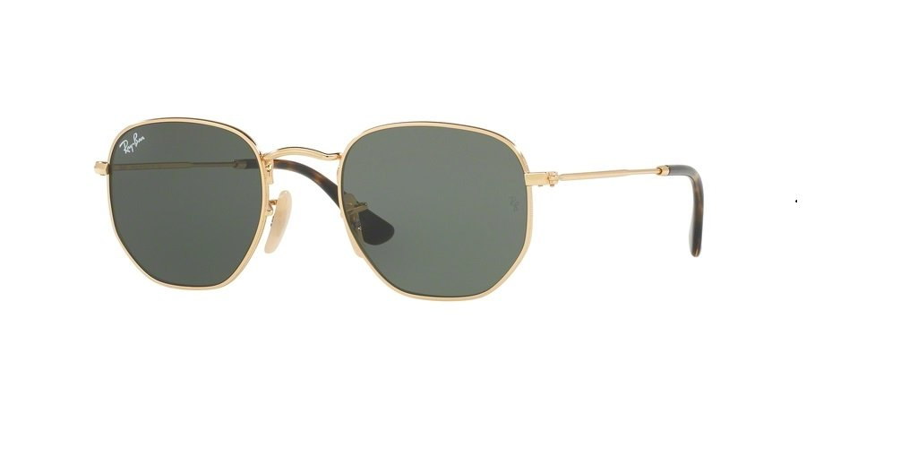 Ray-Ban RB3548N HEXAGONAL 001 51M Gold/Green Sunglasses For Men For Women by Ray-Ban