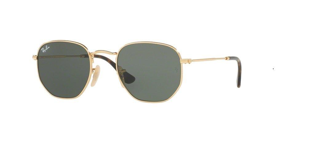 Ray-Ban RB3548N HEXAGONAL 001 48M Gold/Green Sunglasses For Men For Women