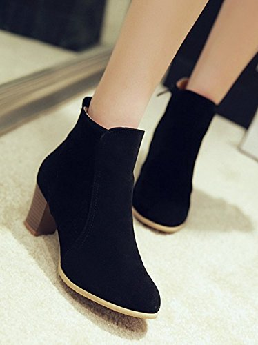 Aisun Womens Simple Pointed Toe Side Zipper Dress Stacked Medium Heels Ankle Boots Shoes Black eoEwH