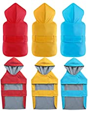 LeerKing Dog Raincoat Poncho with Cotton Lining Leash Hole Waterproof Hooded Jacket 10 Sizes for Small Medium and Big Dogs