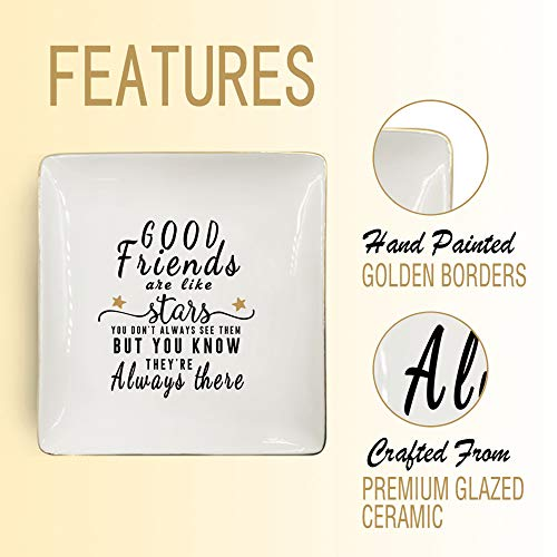 Nordic Runes Friend Gifts for Women, Ceramic Ring Dish for Friends Sister Birthday Gift – Good Friends are Like Stars…