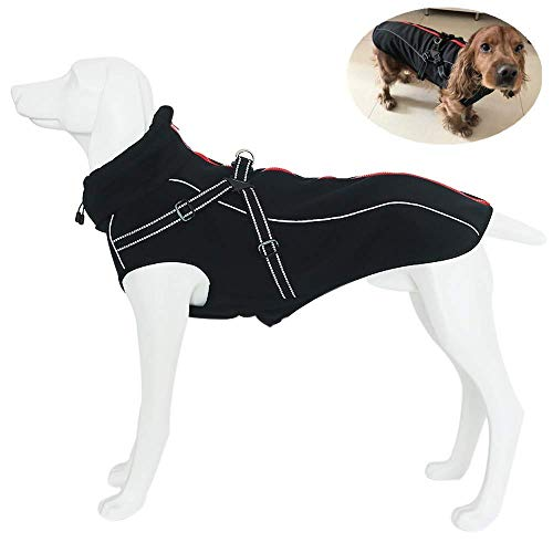 Petilleur Dog Jacket with Harness Warm Coats and Jackets for Medium and Large Dogs (L, Black)