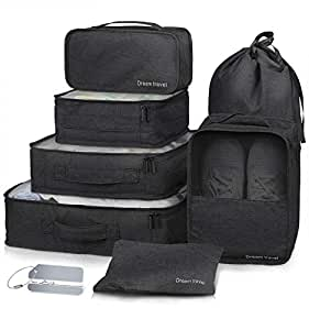 Packing Cubes 7 Pcs Travel Luggage Packing Organizers Set with Laundry Bag (Black)