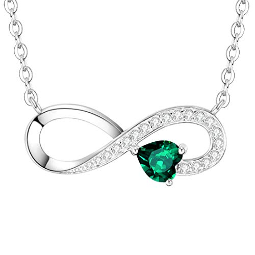 "Love Heart Infinity Necklace Jewelry Birthday Gifts for Women LC Green Emerald I Love You Forever Pendant Anniversary Necklace Gifts for Her Wife Girlfriend Daughter Grandma Granddaughter 20"" Chain"