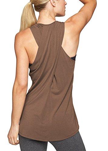 Mippo Women's Summer Workout Tops Activewear Round Neck Yoga Tops T-Shirts Running Fitness Sports Sleeveless Tunics Tees Coffee (Running Sleeveless Tank Top)