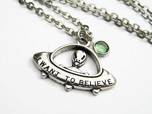 Personalized Alien UFO Necklace, I Want To Believe Birthstone Necklace, Flying Saucer Pendant, Space Jewelry -