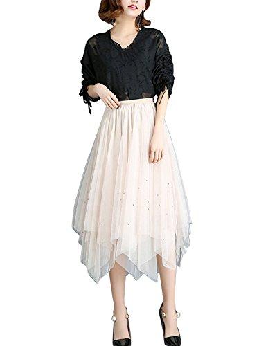ZiXing Femme Vintage Jupon Mi-Longue Jupe en Tulle Taille Elastique Multi Couch Petticoat Tutu Abricot